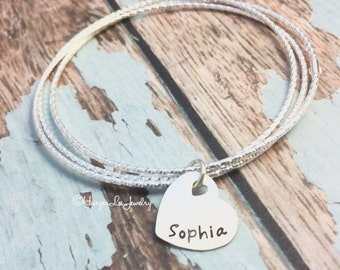 Sterling Silver ~ Three Bangle Cluster ~ Personalized Hand Stamped Heart Charm ~ Mother ~ Mom~ Mommy Layered Bracelet ~ Silver Charm