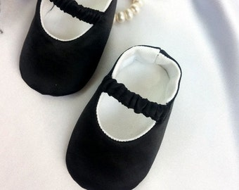 Black Baby Shoes, Baby infant Girl Shoes, Black Glitter baby shoes, Black newborn satin baby shoes, Baby Ballet Flat, Toddler Ballet Slipper
