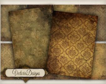 Grunge Damask ATC vintage images digital background instant download printable collage sheet - VD0290