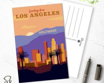 Los Angeles city Postcard - City postcards - Los Angeles postcard set - Los Angeles souvenir - Vintage inspired postcard - Travel postcard