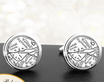 Map Cufflinks Waltham MA Cuff Links State of Massachusetts for Groomsmen Wedding Party Fathers Dads Men