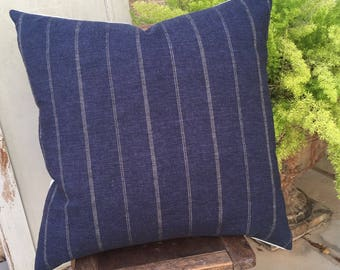 Woven Indigo Designer Stripe Pillow Cover  24 x 24   Boho / Modern / Farmhouse / Beachy / Masculine Decor