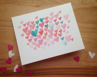 Valentine's Day Card, Greeting card - Pink Hearts