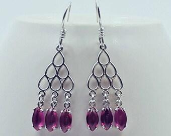 Sterling Silver Lab Ruby Dangle Earrings