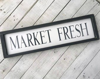 Market Fresh Sign | Market Signs | Farmhouse Decor | Fixer Upper Style | Country Home Decor | Kitchen Signs | Kitchen Wall Decor | Wood Sign