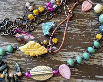 Woodland Necklace - Rustic Pink and Turquoise Necklace - Ceramic Bead Necklace - Boho Knotted Necklace - Bead Soup Jewelry