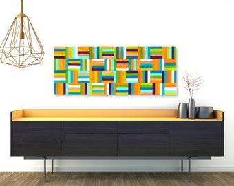 MODERN WOOD Wall Art, Wood Wall Sculpture, Wood Strips, Abstract, Modern Decor, Wood Slats, Multi Color