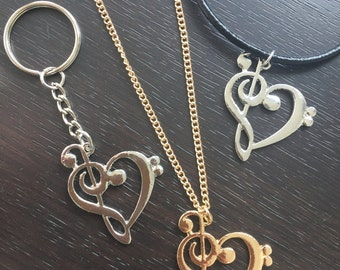 Music note necklace, music jewelry, bass clef and treble clef necklace, music key chain, heart necklace, music note key chain