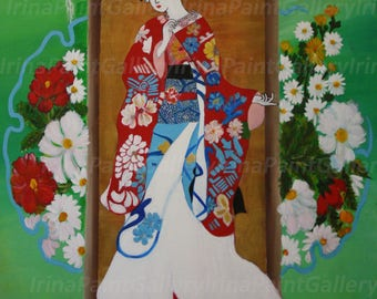 Japanese Geisha Contemporary Portrait Art Wall painting Acrylic Painting Original Traditional Art Décor Large Painting 24 x 36