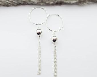 Tassel Ear Hoops, Silver Hoop Earrings, Silver Tassel Earrings, Fringe Earrings, Statement Long Earrings, Girlfriend Gift, Birthday Gift