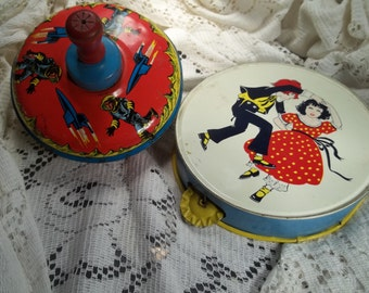Vintage Tin Toy Top and Tambourine