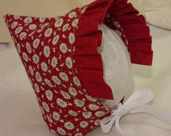 Pixie Bonnet Red and White Floral with Red Ruffle plus White Ribbon
