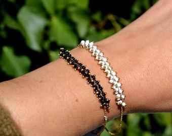 Chain bracelet, bunch of beads, silver bracelet, black bracelet, white bracelet, gift for her, elegant bracelet, friendship bracelet,