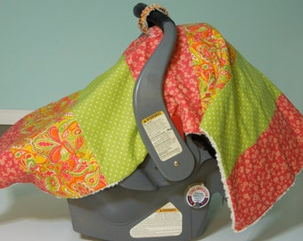 """Baby Girl Car Seat """"COVER ME"""" Canopy  Blanket - Modern Boutique Infant Tent Cover w/ Rings & Snap - Cozy Minky Fleece-  Melon Sorbet"""