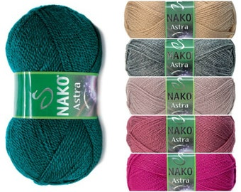 NAKO Astra, 100 % Premium Acrylic yarn, Hypoallergenic, Soft Yarn, Turkish Yarn, color choice, sport weight, vegan yarn, ALP