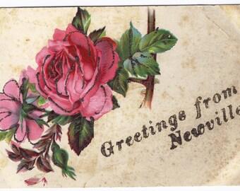 Old Vintage Postcard, Flowers, Roses, Greetings, Newville