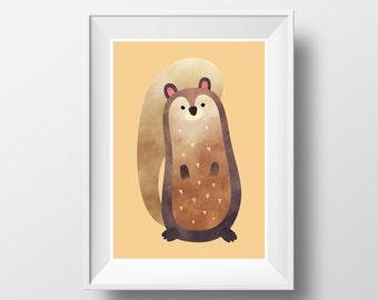 "POSTER. Printable A3 Brown Poster ""Squirrel"" for Children Rooms. Instant download PDF."