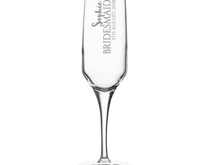 Engraved BRIDESMAID champagne prosecco flute glass gift, personalised wedding crystal wine flute - DHC-BP1