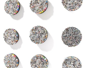 multi-colored round wall art- set of 9- made from recycled magazines, colorful, unique