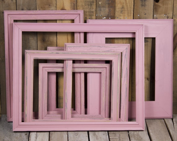 ON SALE - Mixed Baby Pink Frame Set of 6, Rustic Hand Painted-Frame ...
