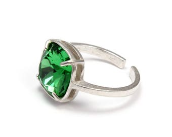 Green ring, 925 sterling silver ring, Swarovski 10 mm cushion cut crystal, St Patrick's day gift, adjustable size 4-9 ring, Irish ring