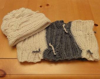 Crochet Terrace Pattern Hat & Cowl Set