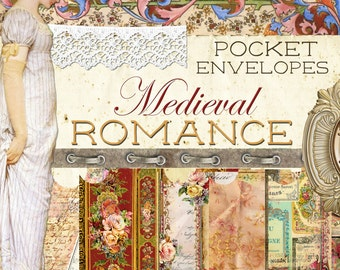"Digital Paper Journal Kit ""Medieval Romance - Pocket Envelopes - Digital Envelopes"