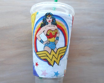 Wonder Woman coffee sleeve, DC Comics drink cozy, insulated fabric cup cooler, reusable hot or cold beverage