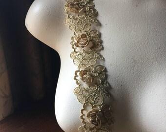 """18"""" GOLD  3D Lace Alencon Lace Trim for Bridal, Garments, Costumes"""