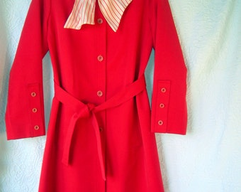 Mod Vintage Forecaster Orange Red Lightweight (Rain) Coat w/Scarf-Size 9/10