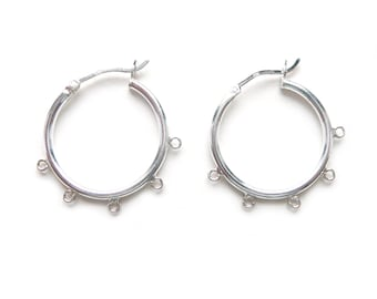 Chandelier hoops etsy 2 pairs 22mm sterling silver round chandelier hoop earrings with 5 open loops stamped 925 aloadofball Choice Image