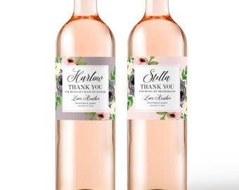 Bridesmaid Gift Thank You Wine Labels - Bridal Party Thank You Gift Idea - Maid of Honor Thank You Card Alternative