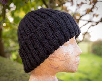 Classic Rib Wool Hat - Black - British Wool, Hand Knit Men, Women, Accessory, Luxury Beanie Hat