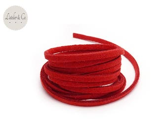 1 m red 3 mm x 1.5 mm suede cord