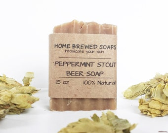 Beer Soap - Peppermint Stout - Gifts for Him - Stout Soap - Beer Soap - Natural Soap - Beer Lover Gifts - Soap with Beer