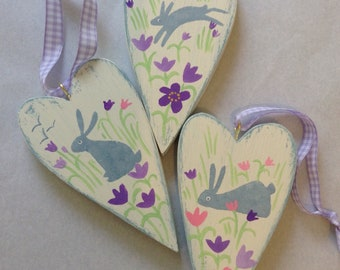 Trio of wooden hearts - Rabbits