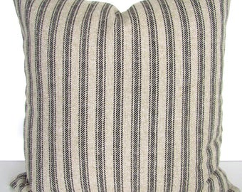 BLACK TICKING STRIPE Pillow Black Throw Pillow Covers Black and Tan Ticking Stripe pillow Covers Striped 16 18 20x20 All Sizes Taupe Pillows