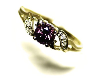 Purple Sapphire Engagement Ring Yellow Gold Size 5.5 (0.64 ct) 10k Gold Ring, Color Change Sapphire and Diamond Ring, Yellow to Purple Gem