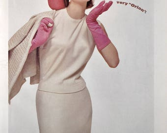 1963 Dupont Orlon Travel Knit Ad - Woman in Pink Hat & Gloves - Retro 1960's Women's Fashion Ads
