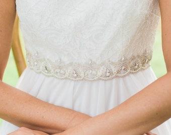Embroidered wedding sash, beaded wedding belt, rhinestone bridal sash, wedding dress sash, crystal bridal belt, designer wedding sash FATOU