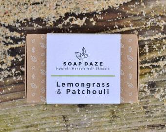 Handmade Lemongrass & Patchouli Soap, natural soap, large soap, vegan soap