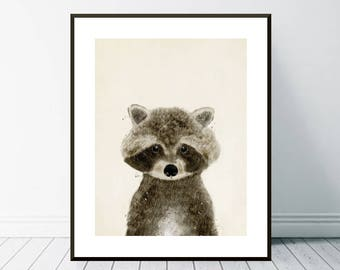 little raccoon..woodland nursery art.baby animals.nursery art print.nursery animals.fauna print.baby nursery decor.woodland nursery decor.