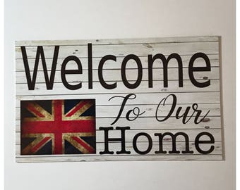 Welcome British UK Sign Wall Hanging or Plaque House Home