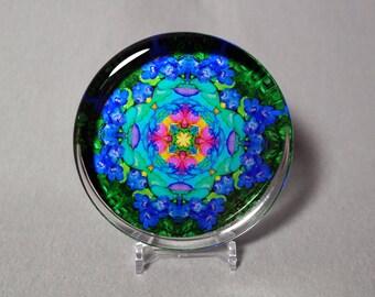 Rainbow Rose Glass Paperweight Boho Mandala New Age Sacred Geometry Hippie Kaleidoscope Unique Boss Gift Teacher Gift Kaleidoscopic Symphony