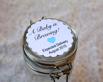 BABY IS BREWING, Baby Shower, Custom Heart Color, Stickers, Gender Reveal