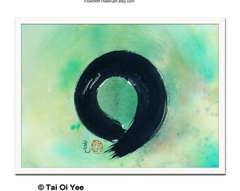 Color Enso- original zen circle painting, not a print