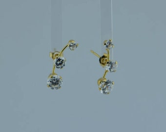 14K Yellow Gold Cubic Zirconia Post Earrings