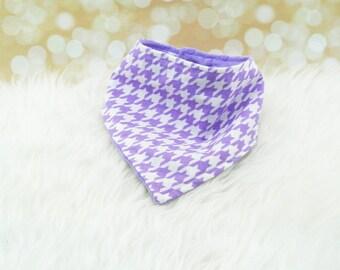 Minky Bandana Bib (LAVENDER HOUNDSTOOTH) - reversible bandana bib, minky bib, minky bibdana, baby shower gift, soft bibdana, minky baby bib
