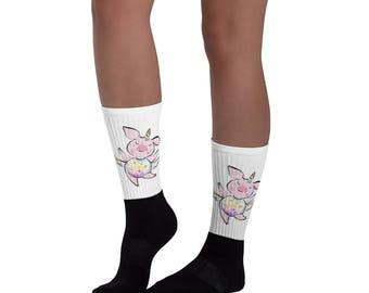Funny pig socks for women, Flying pig socks, Piggy socks, Pig lover gift, Unicorn pig socks, Pig Unicorn socks, Unicorn piggy, Pigacorn