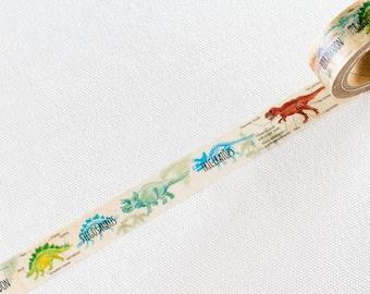 Japanese Washi Masking Tape - <Dinosaur> for Journaling, Hobonichi Planner deco, scrapbooking, packaging